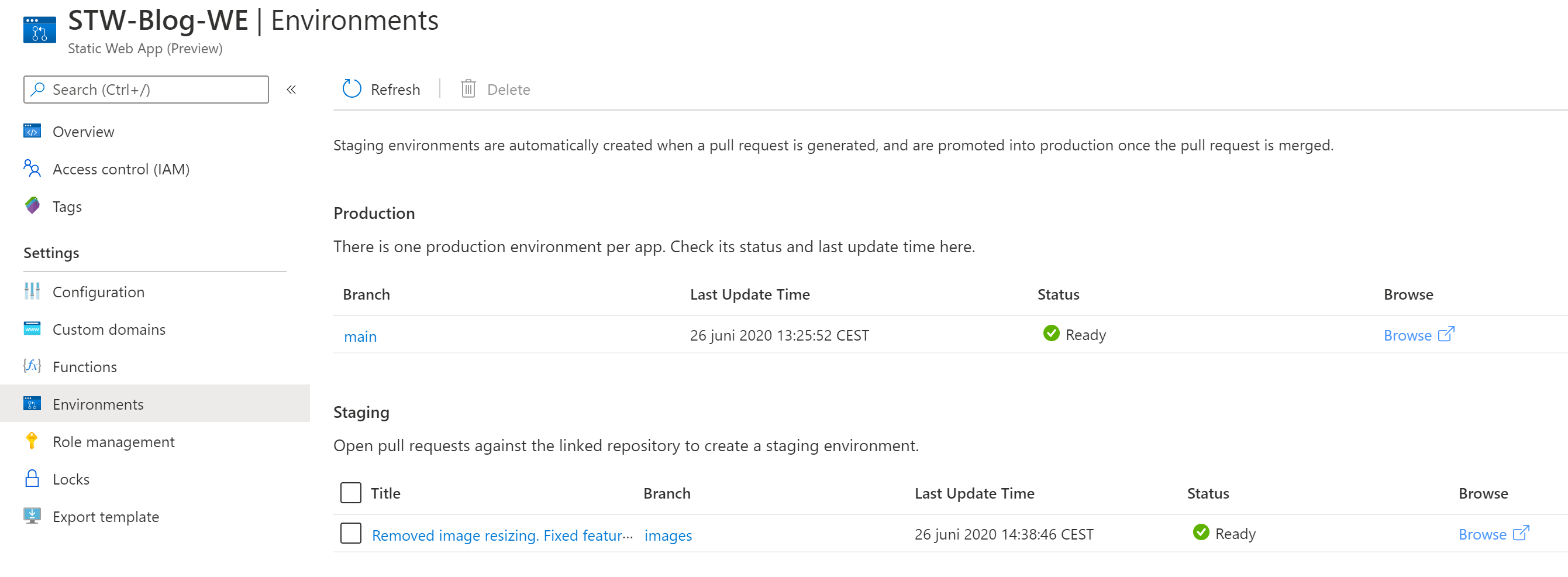 Environment page in the Azure Portal